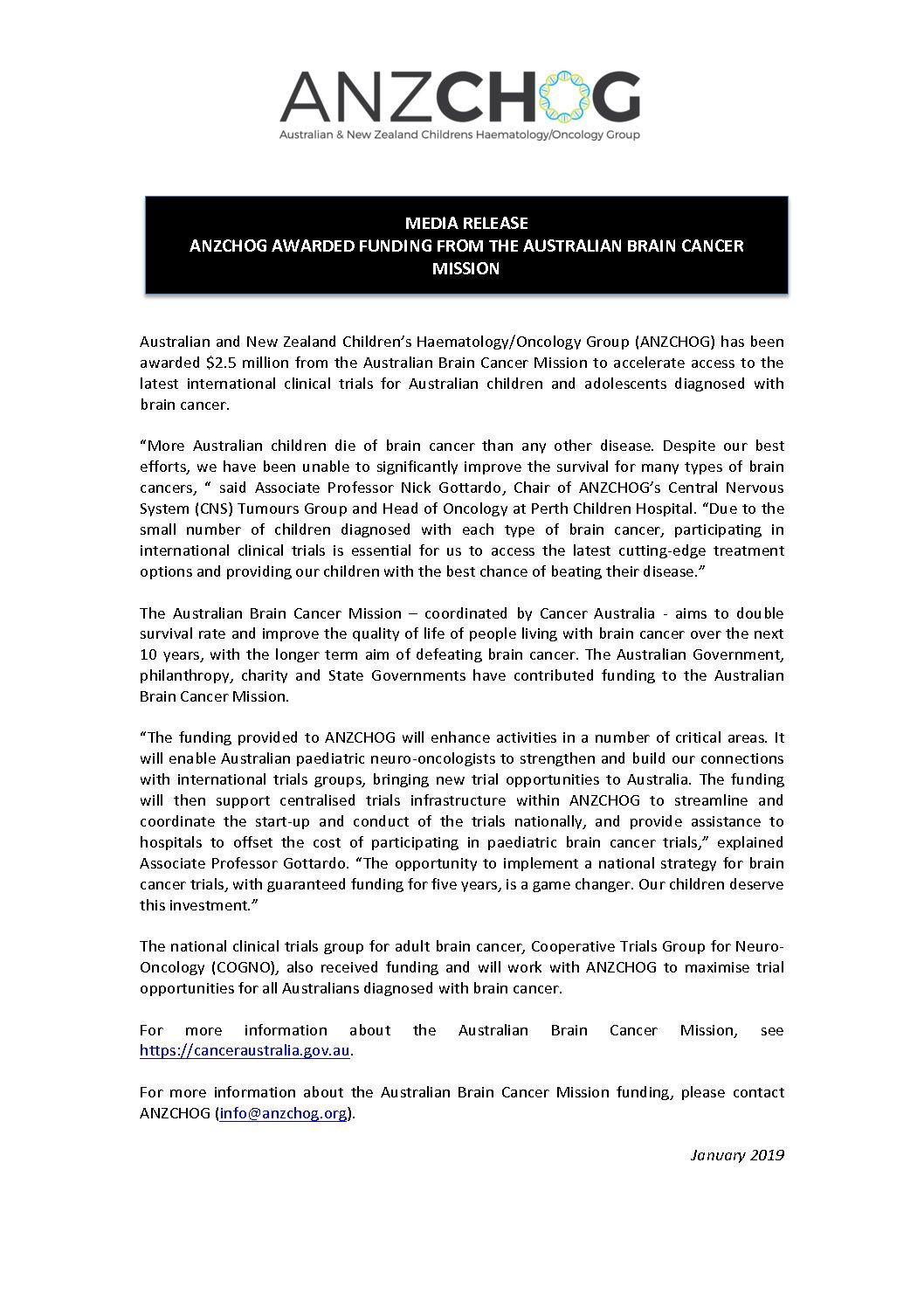 ANZCHOG ABCM media release Jan 2019
